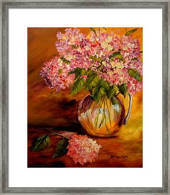 Hydrangeas From The Garden Framed Print by Barbara Pirkle