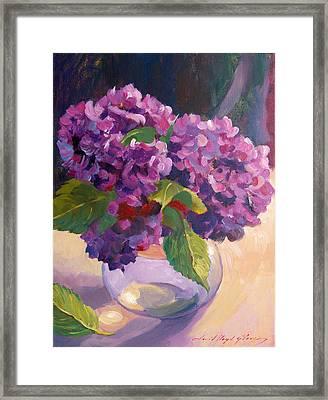Hydrangeas Glass Bowl Framed Print by David Lloyd Glover
