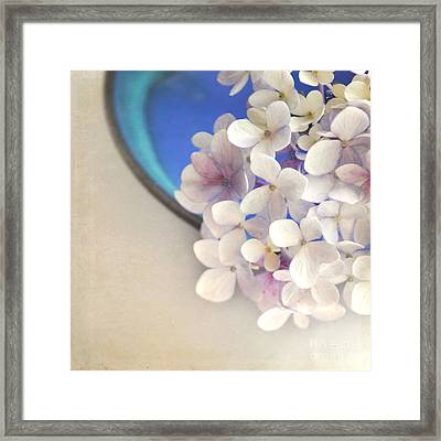Hydrangeas In Blue Bowl Framed Print