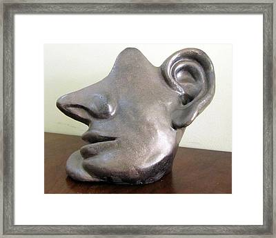 I Am All Ears Head Face With Ears Only Large Nose No Eyes Huge Ears Framed Print by Rachel Hershkovitz