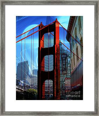 I Left My Heart In San Francisco . Golden Gate Bridge . Transamerica Pyramid . North Beach Framed Print by Wingsdomain Art and Photography