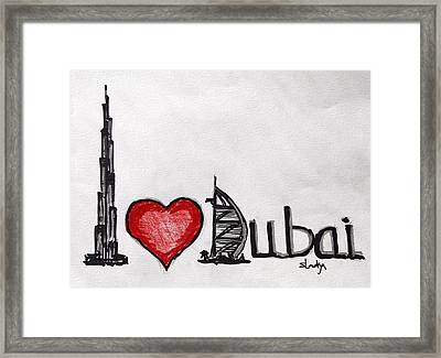 I Love Dubai Framed Print