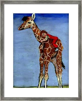 I Love My Very Own Giraffe Framed Print by Cheryl Whitehall