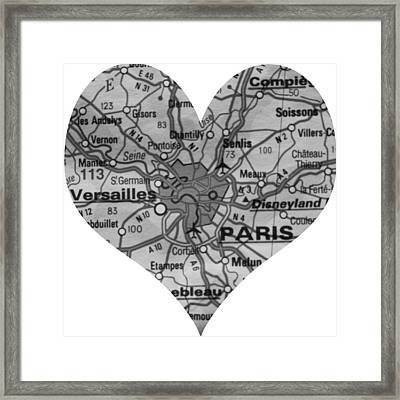 I Love Paris In Black And White Framed Print by Georgia Fowler