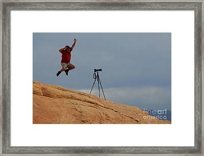 I Think He Got The Shot Framed Print by Vivian Christopher