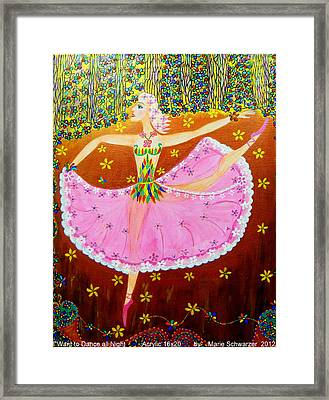 Framed Print featuring the painting I Want To Dance All Night. by Marie Schwarzer