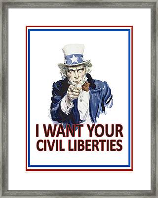 I Want Your Civil Liberties Framed Print by Matt Greganti