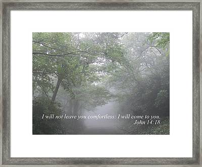 Framed Print featuring the photograph I Will Not Leave You Comfortless by Diannah Lynch