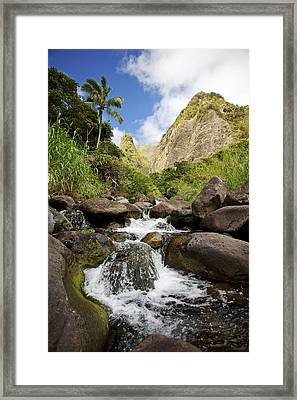 Iao River Valley Waterfall Framed Print