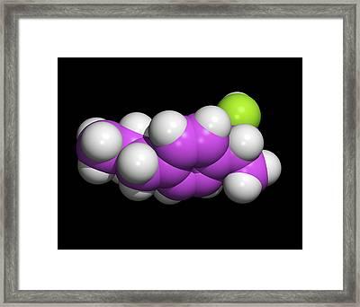 Ibuprofen Molecule, Painkilling Drug Framed Print by Dr Tim Evans