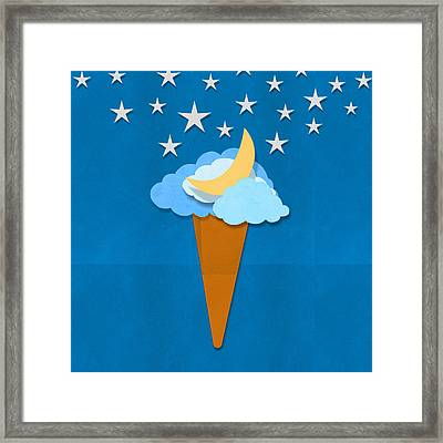 Ice Cream Design On Hand Made Paper Framed Print by Setsiri Silapasuwanchai
