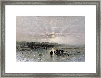 Ice Fishing Framed Print by Ludwig Munthe