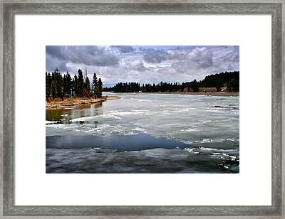 Ice On The Yellowstone River Framed Print by Ellen Heaverlo