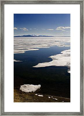 Framed Print featuring the photograph Ice On Yellowstone Lake by J L Woody Wooden