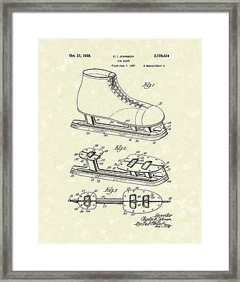 Ice Skate 1939 Patent Art Framed Print
