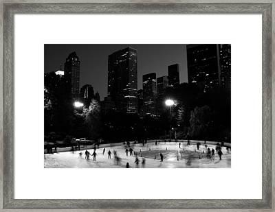 Ice Skating In Central Park Framed Print