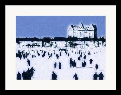 Ice Skating 19 Century Vintage Old Blue Sky Snow People Fun Winter Pastel Framed Prints