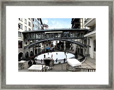 Ice Skating Rink In Vail Square Framed Print by Bill Kennedy