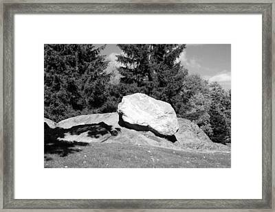 Iceage Rock In Black And White Framed Print by Rob Hans