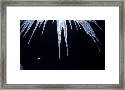 Icicle Moon Framed Print by Aaron Warner