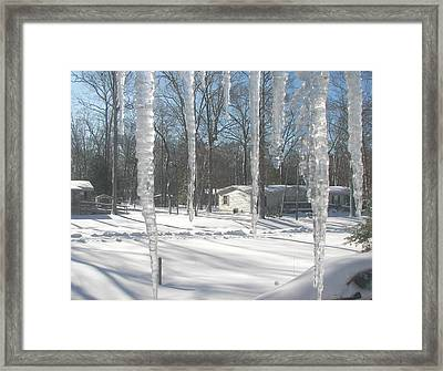 Framed Print featuring the photograph Icicles Through The Window Glass by Pamela Hyde Wilson