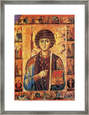 Icon Of Saint Pantaleon Framed Print by Science Source