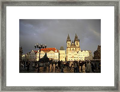 Iconic Old Town Medieval Houses Facades And Tourists Old Town Square Framed Print by Christer Fredriksson