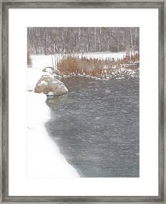 Framed Print featuring the photograph Icy Pond by John Crothers