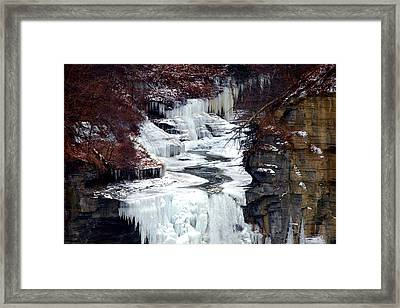 Icy Waterfalls Framed Print by Paul Ge