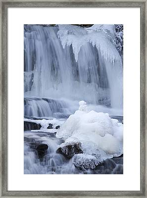 Icy Winter Waterfall Framed Print by John Stephens