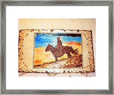 Idaho Sunset-horse And Horseman Wood Pyrography Framed Print by Egri George-Christian
