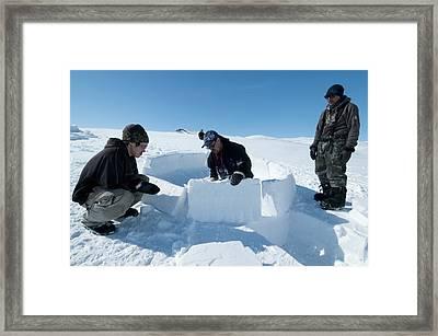 Igloo Building, Arctic Framed Print