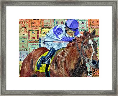 I'll Have Another Wins Framed Print by Michael Lee