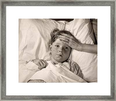 Ill In Bed Framed Print by Victor Keppler