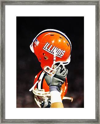 Illinois Football Helmet  Framed Print by University of Illinois
