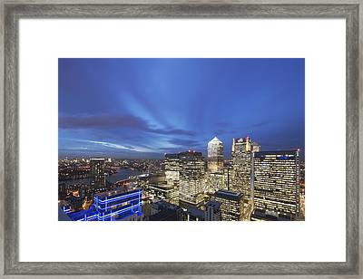 Illuminated Buildings At Night Canary Wharf Framed Print by Laurie Noble