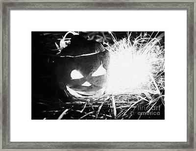 Illuminated Halloween Turnip Jack-o-lantern With Sparkler To Ward Off Evil Spirits Framed Print by Joe Fox