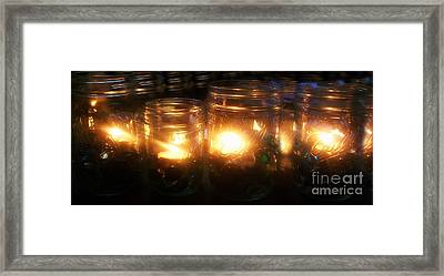 Illuminated Mason Jars Framed Print by Christy Beal