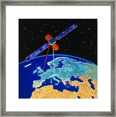 Illustration Depicting A Communications Satellite Framed Print