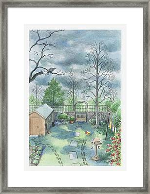 Illustration Of A Dark Clouds Over A Garden Framed Print
