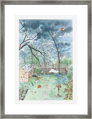Illustration Of A Garden During A Storm Framed Print by Dorling Kindersley