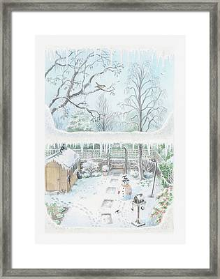 Illustration Of A Garden In Winter Seen Through A Window Framed Print by Dorling Kindersley