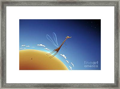 Illustration Of A Giraffe Learning Framed Print by Vlad Gerasimov