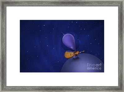 Illustration Of A Martian Playing Framed Print by Vlad Gerasimov