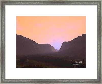 Illustration Of A Martian Sunrise Framed Print by Walter Myers