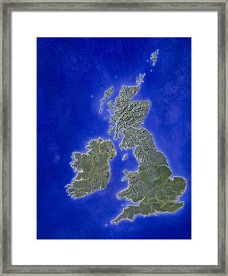 Illustration Of A Relief Map Of The British Isles Framed Print