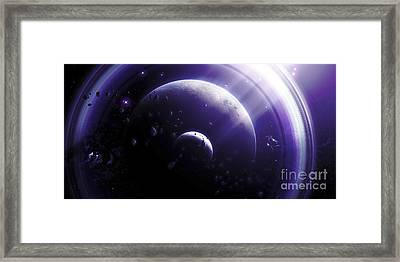 Illustration Of A Ringed-planet Viewed Framed Print by Kevin Lafin