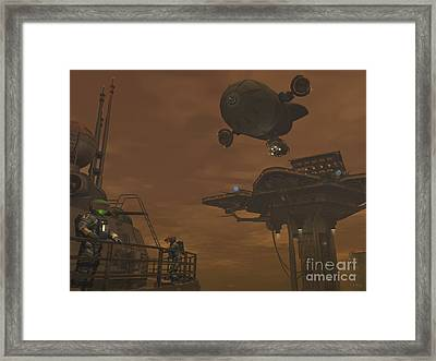 Illustration Of A Spacecraft Framed Print