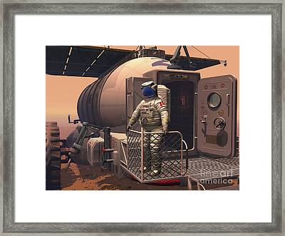 Illustration Of An Astronaut Leaving Framed Print by Walter Myers