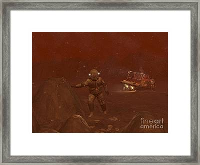 Illustration Of Astronauts Exploring Framed Print by Walter Myers